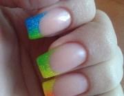 Наращивание ногтей цветной френч