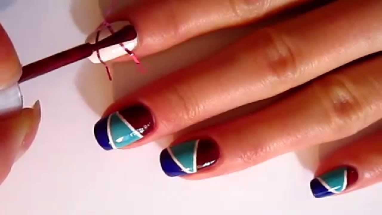 Дизайн ногтей скотч лента