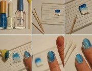 Рисунки на ногтях с помощью губки пошагово