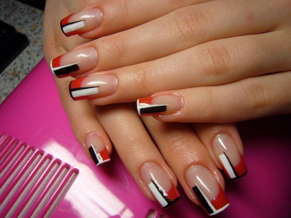 Нарощенные ногти дизайн красного цвета