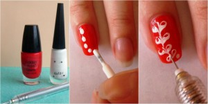 Используем иголку для создания рисунка на ногтях