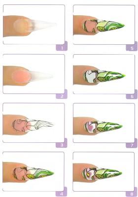 Красивый рисунок на ногтях пошагово