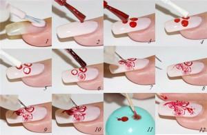 Пошаговая схема раскраски ногтей