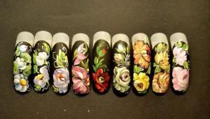 Роспись нарощенных ногтей