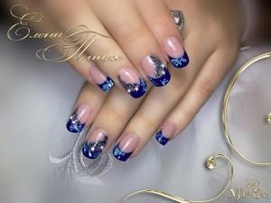 нарощенные ногти фото синие