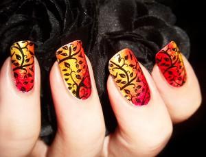 осенние рисунки на ногтях
