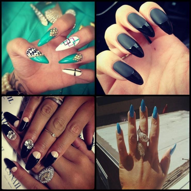 Острые ногти и цветовое решение